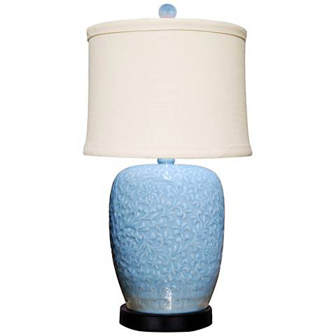 Brigitte Ice Blue Jar Table Lamp with Fine Linen Shade