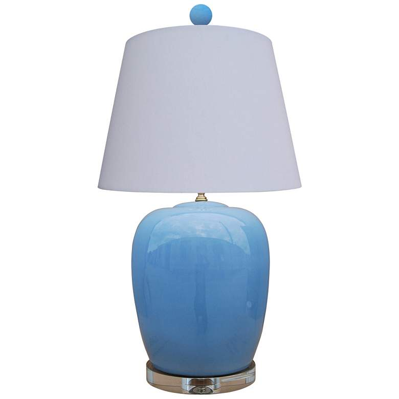 Brigitte Ice Blue Jar Table Lamp with Anna