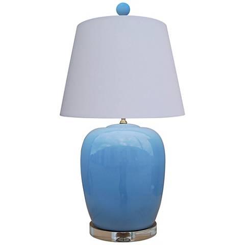 Brigitte Ice Blue Jar Table Lamp with Anna Rayon Shade