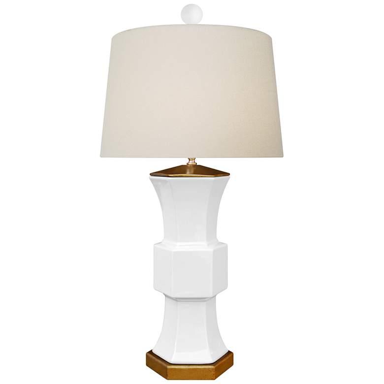 Francis White Porcelain Hexagonal Vase Table Lamp