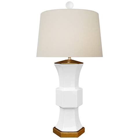 Francis White Porcelain Hexagonal Vase Table Lamp