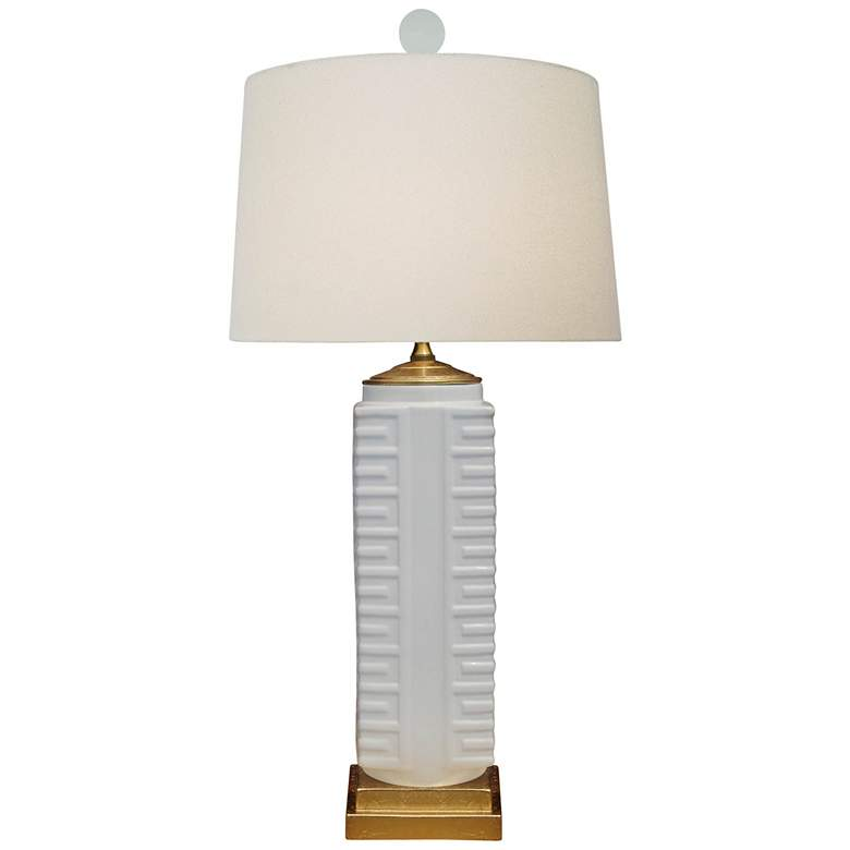 Lenon White Porcelain Square Vase Table Lamp