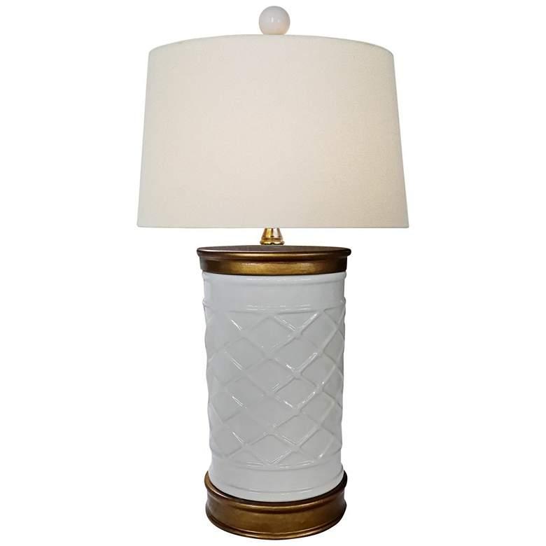 Serpentine White Porcelain Zig Zag Vase Accent Table Lamp