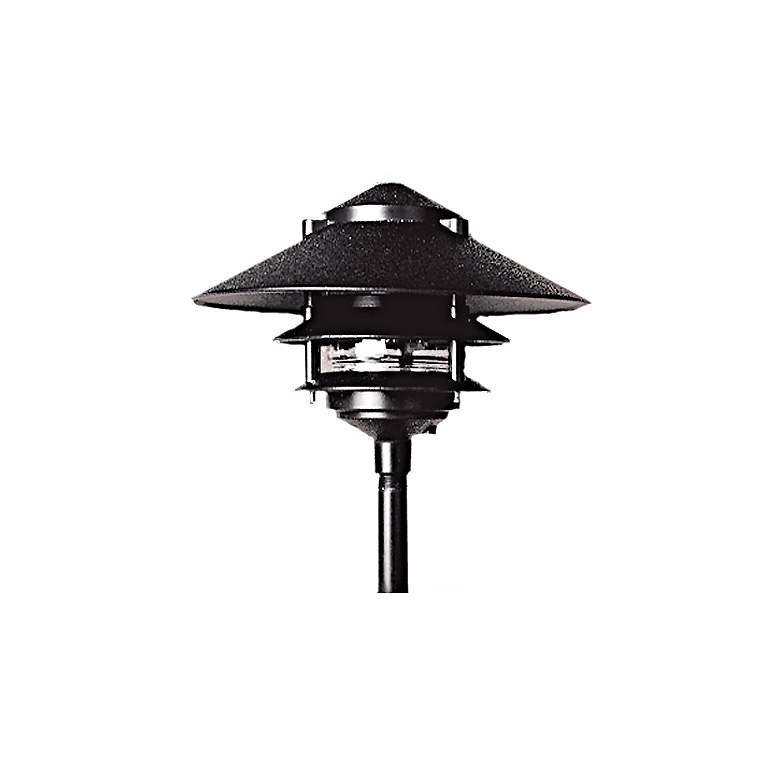 Three Tiered Black Outdoor Landscape Pagoda Light