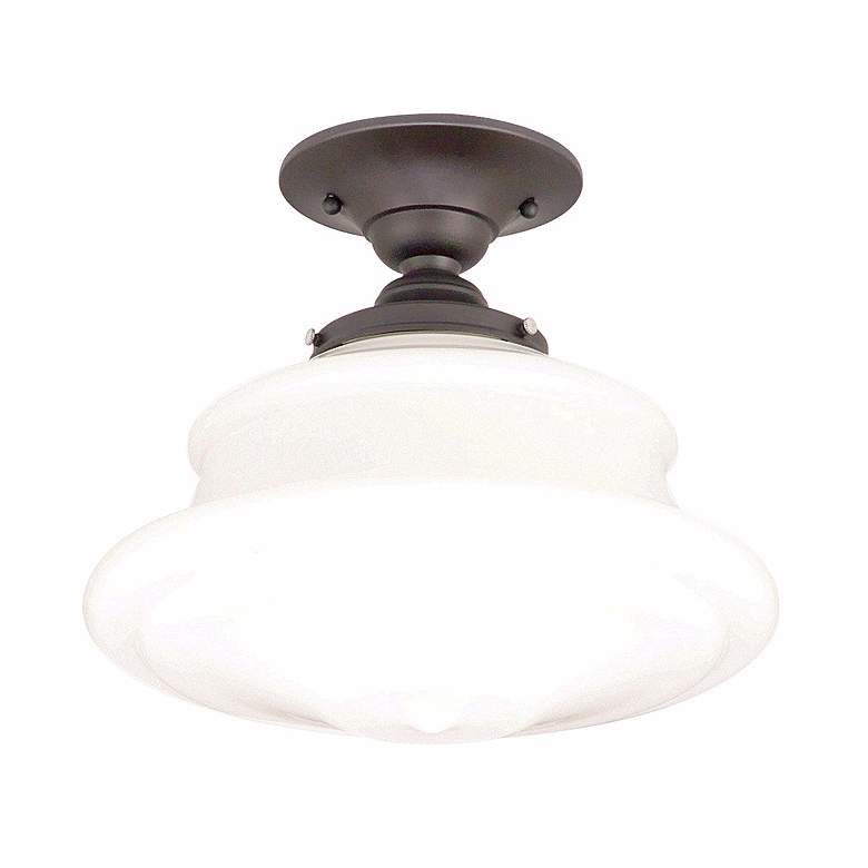 "Schoolhouse Button 12 3/4"" Wide Old Bronze Ceiling Light"