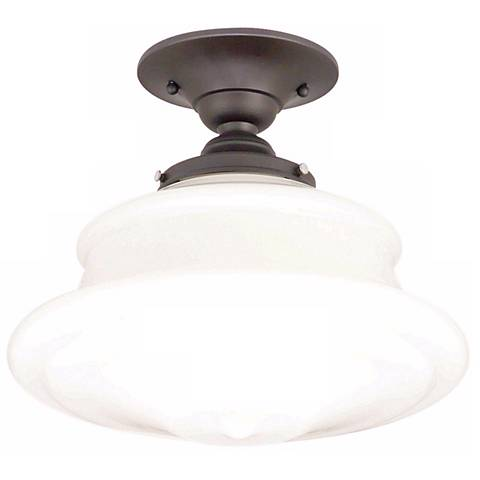 Schoolhouse Button 12 3 4 Wide Old Bronze Ceiling Light