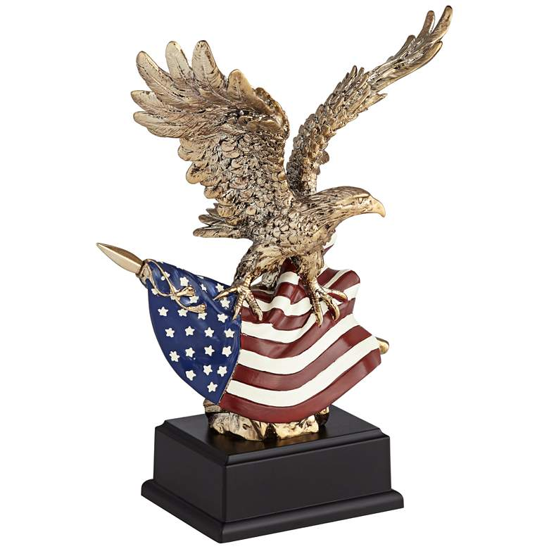 """Shiny Antique Gold 10""""H Eagle with American Flag Figurine"""