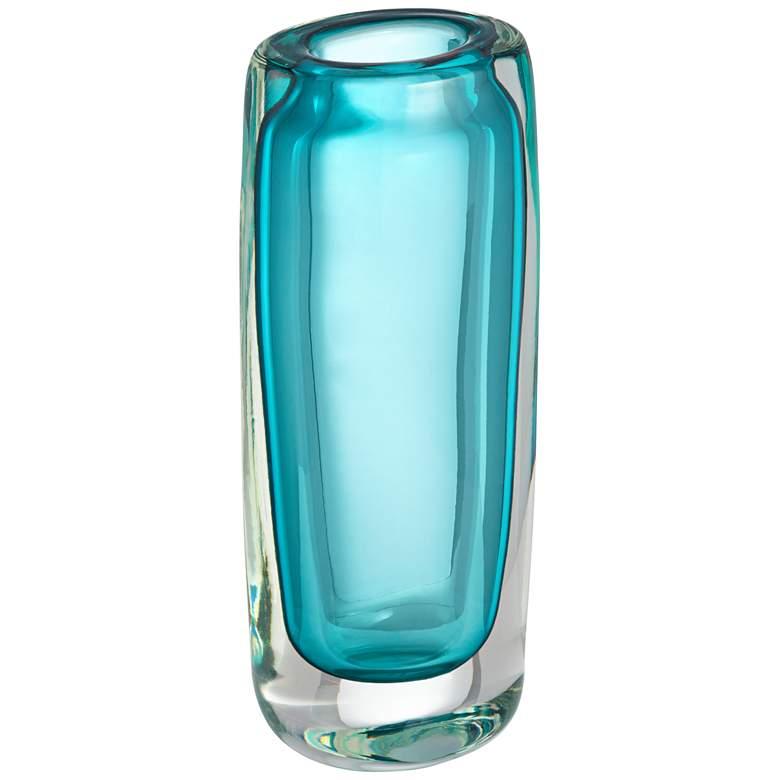 "Olio 9 1/2"" High Green-Blue Modern Glass Vase"