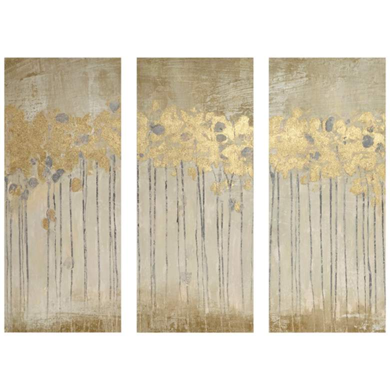 "Sandy Forest 35"" High 3-Piece Gel Coat Canvas Wall Art Set"