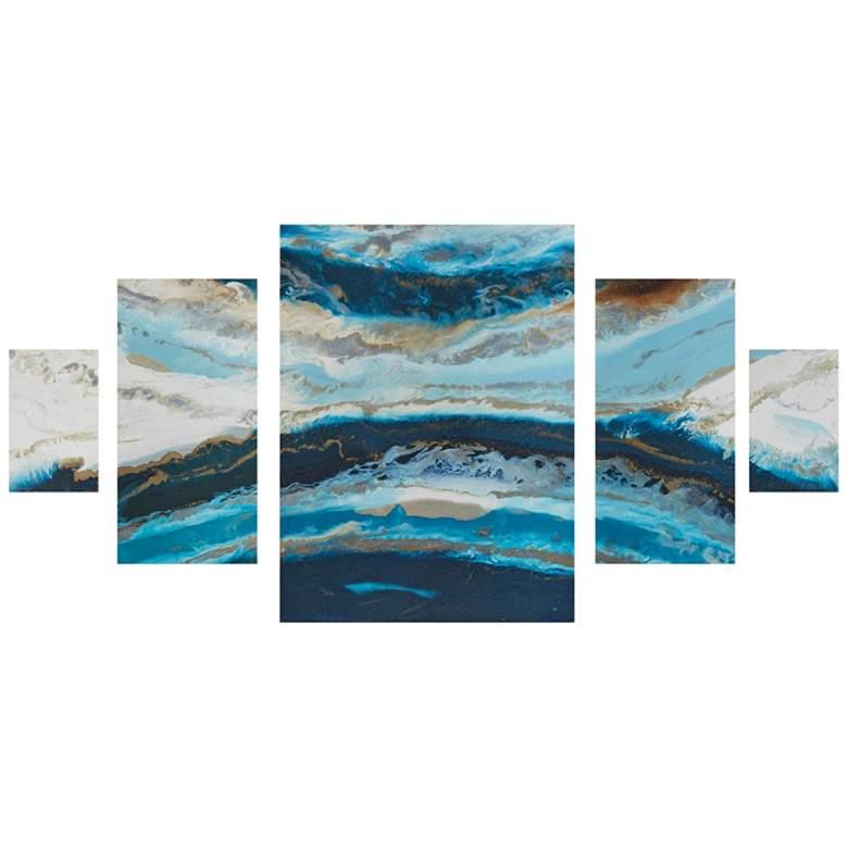 """Midnight Tide Blue 39"""" High 5-Piece Gel Coat Wall Art Set"""