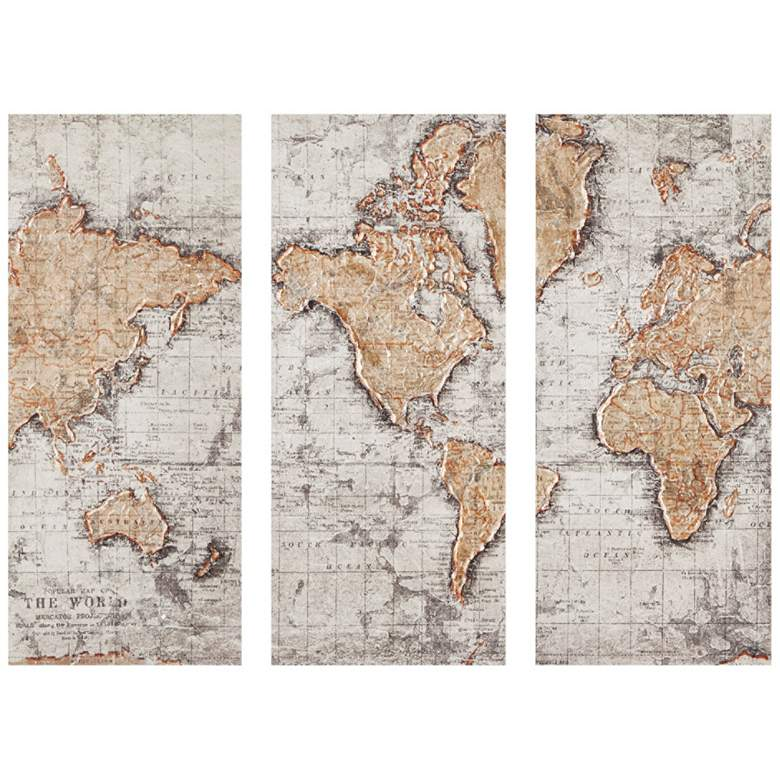 """Map of the World 35""""H 3-Piece Printed Canvas Wall Art Set"""