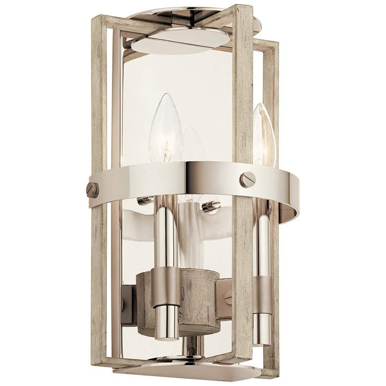 "Peyton 12 3/4"" High White-Washed Wood 2-Light Wall Sconce"
