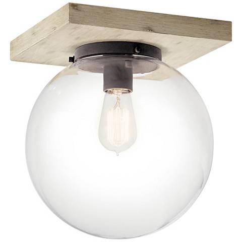 """Kichler Marquee 11"""" Wide White-Washed Wood Ceiling Light"""