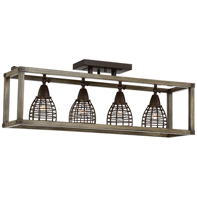 Verdorn 4-Light Oiled Bronze with Wood Cage Track Fixture