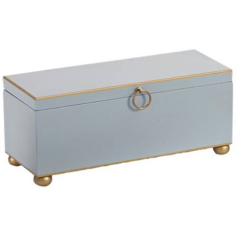 Wildwood Rectangular Pastel Blue Tole Box