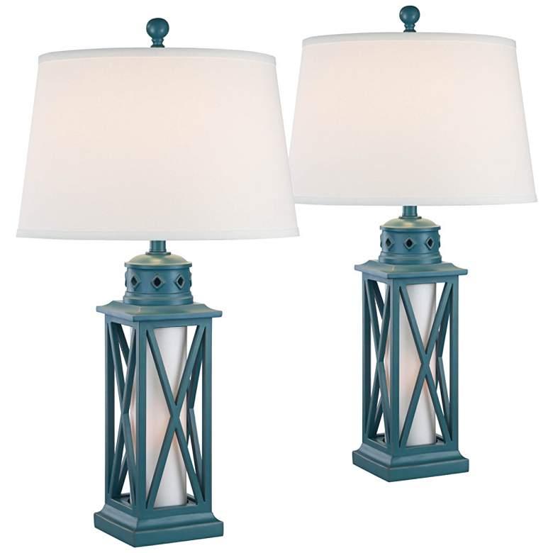 Bondi Largo Blue Coastal Lantern Table Lamps Set of 2