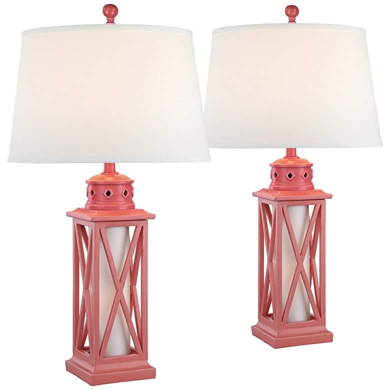 Bondi Coral Coastal Lantern Table Lamps Set of