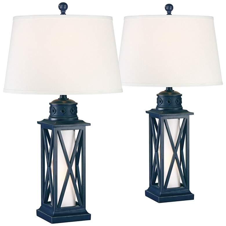 Bondi Navy Blue Coastal Lantern Table Lamps Set of 2