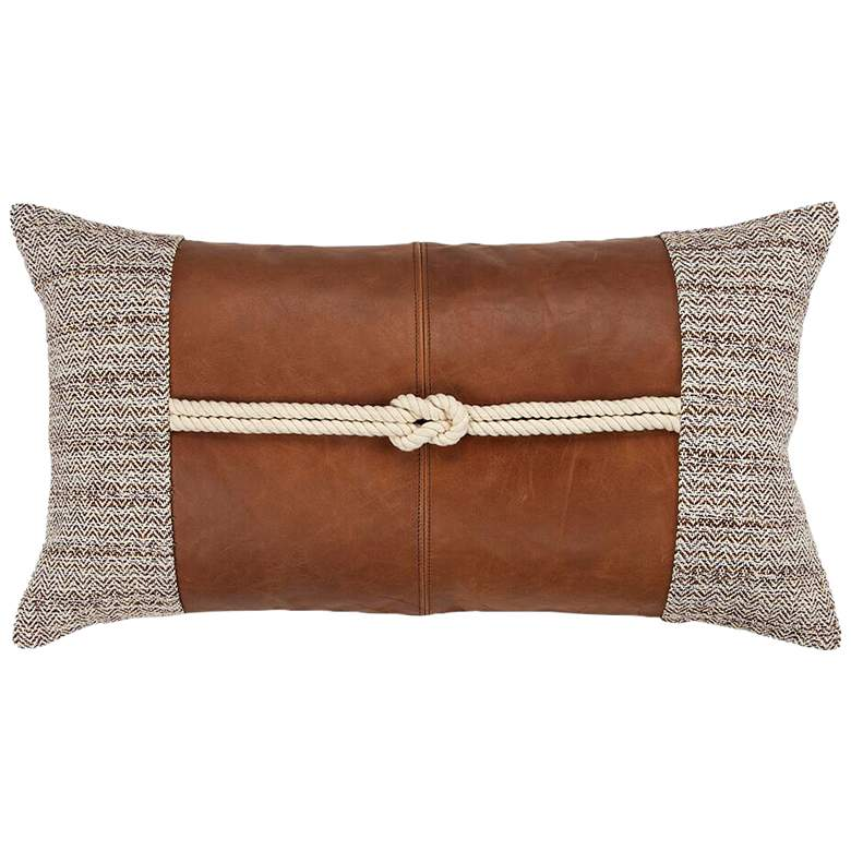 "Brown Color Block 26"" x 14"" Decorative Poly Filled Pillow"