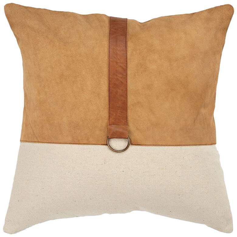 "Natural Color Block 20"" Square Decorative Down Filled Pillow"