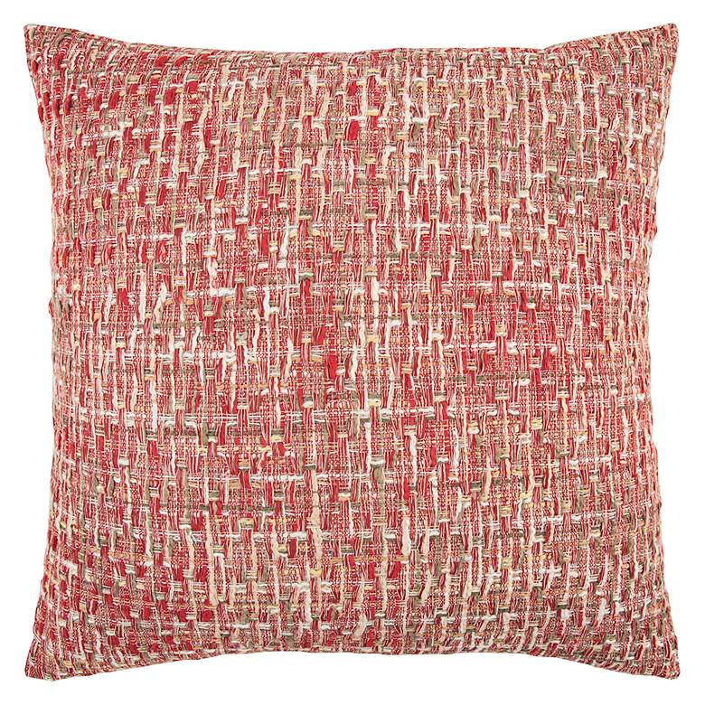 "Red Heathered 22"" Square Decorative Down Filled Pillow"
