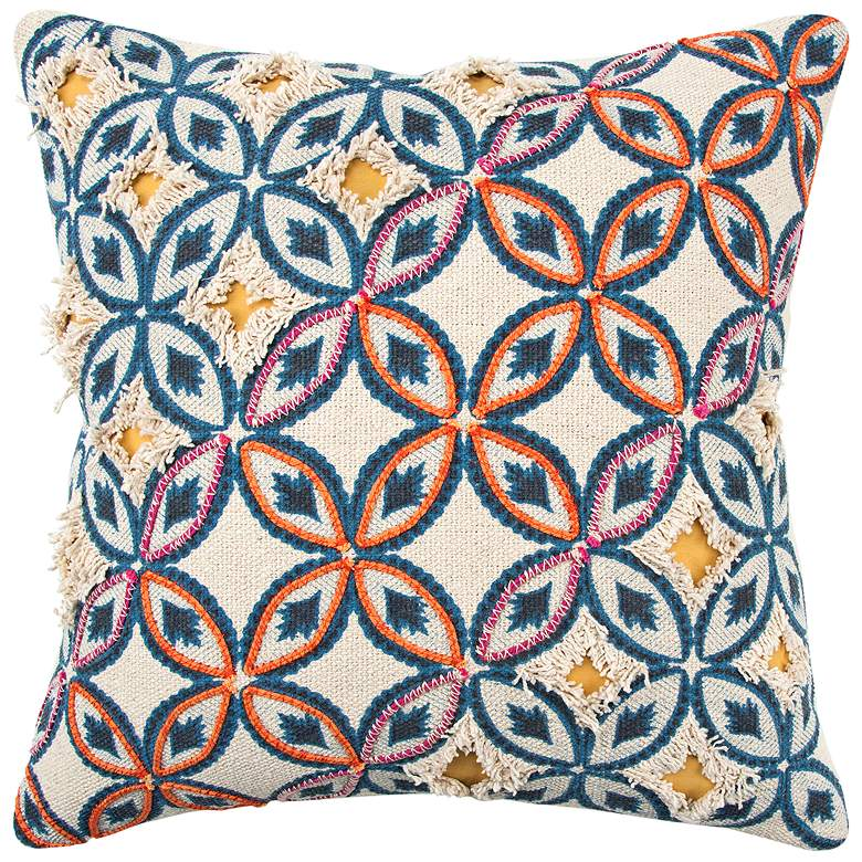 """Orange and Blue Abstract 20"""" Square Poly Filled Pillow"""