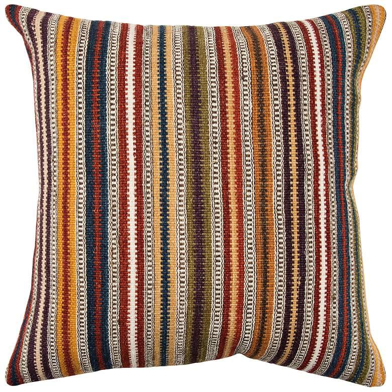 """Orange Stripe 20"""" Square Decorative Down Filled Pillow"""