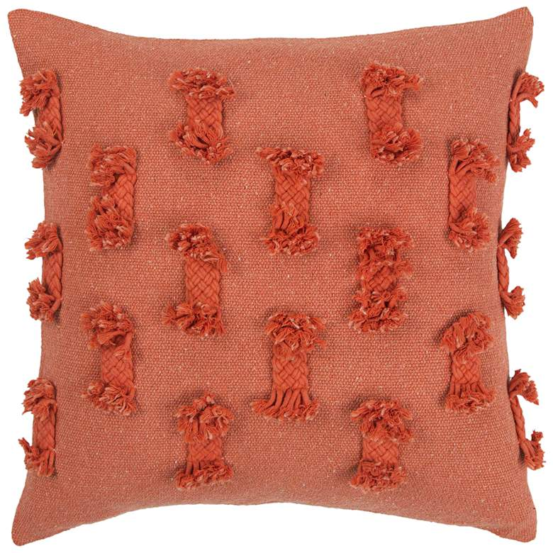 """Orange with Braided Trim 20"""" Square Poly Filled"""