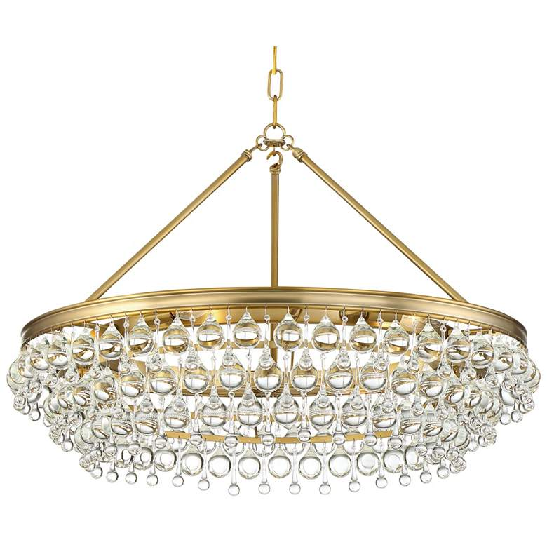 "Calypso 30""W Vibrant Gold and Crystal Teardrop Chandelier"