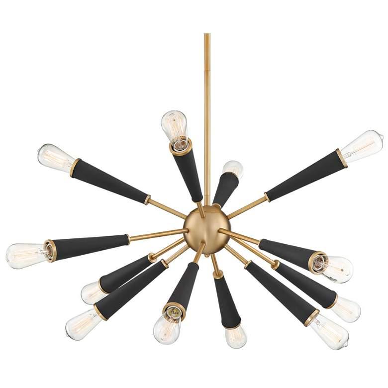 "Zodiac 34"" Wide Aged Brass 12-Light Sputnik Chandelier"