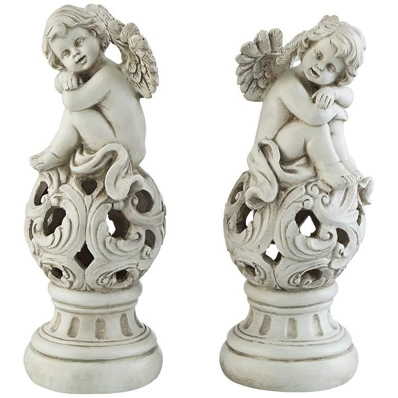 "Sitting Angels 12 1/2"" High Cream Sculpture Set of 2"