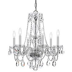 """Traditional Crystal 23""""W Polished Chrome 6-Light Chandelier"""