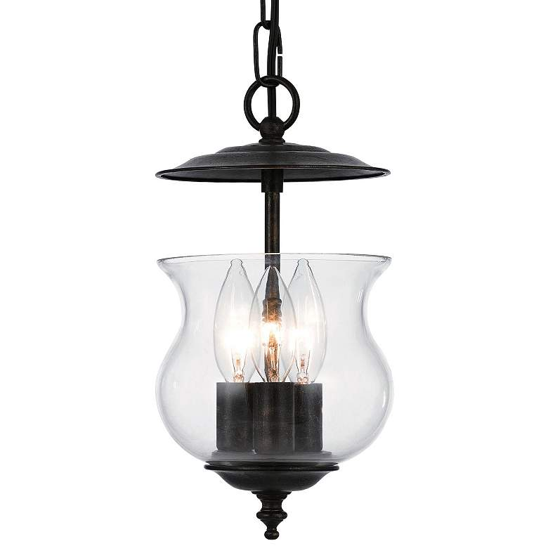 "Ascott 6 1/2""W English Bronze 3-Light Mini Lantern Pendant"