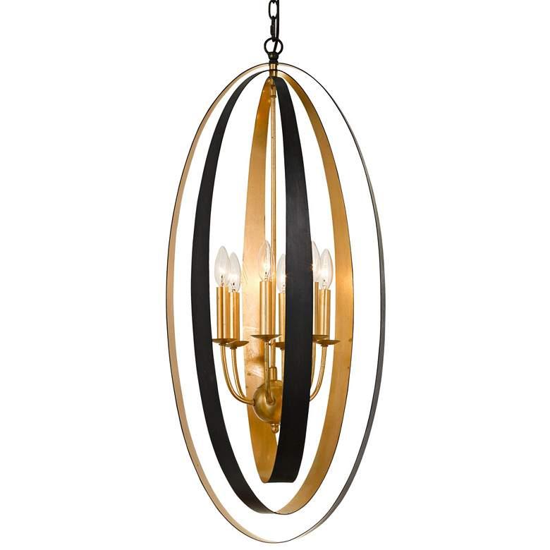 "Luna 16""W English Bronze and Antique Gold 6-Light Pendant"