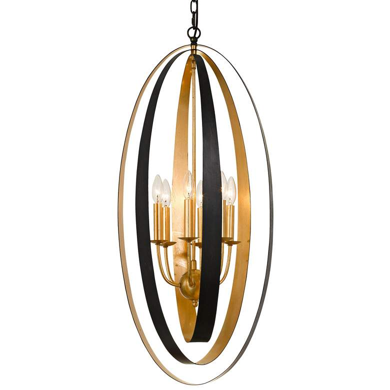"Luna 16""W English Bronze and Antique Gold 6-Light Pendant"