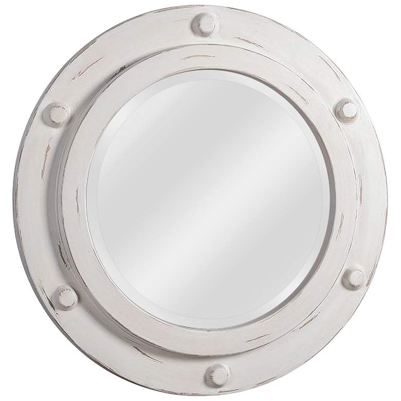 "Kenroy Home Portside Distressed White 24"" Round Wall Mirror"