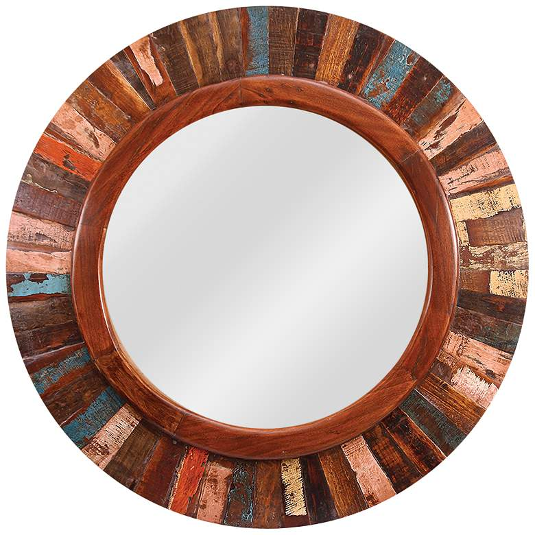 """Kenroy Home Randy Old Paint 36"""" Round Wall Mirror"""