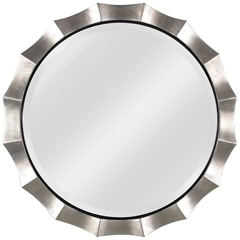 """Kenroy Home Chorale Antique Silver 34"""" Round Wall Mirror"""