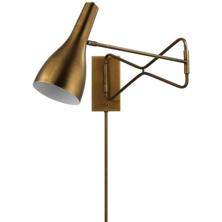 Jamie Young Lenz Antique Brass Plug-In Swing Arm Wall Lamp