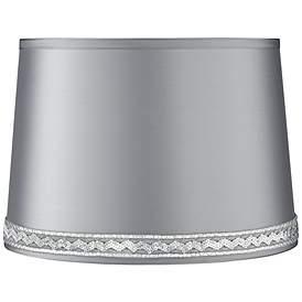 Satin Gray Drum Lamp Shade 14x16x11 Spider W Sequin Braid Trim