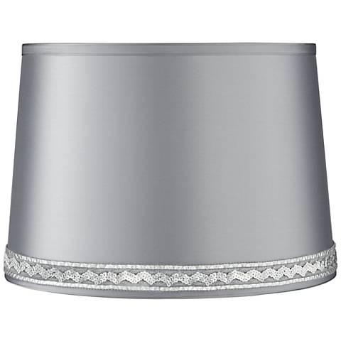 Satin Gray Drum Lamp Shade 14x16x11 (Spider) W/ Sequin Braid Trim