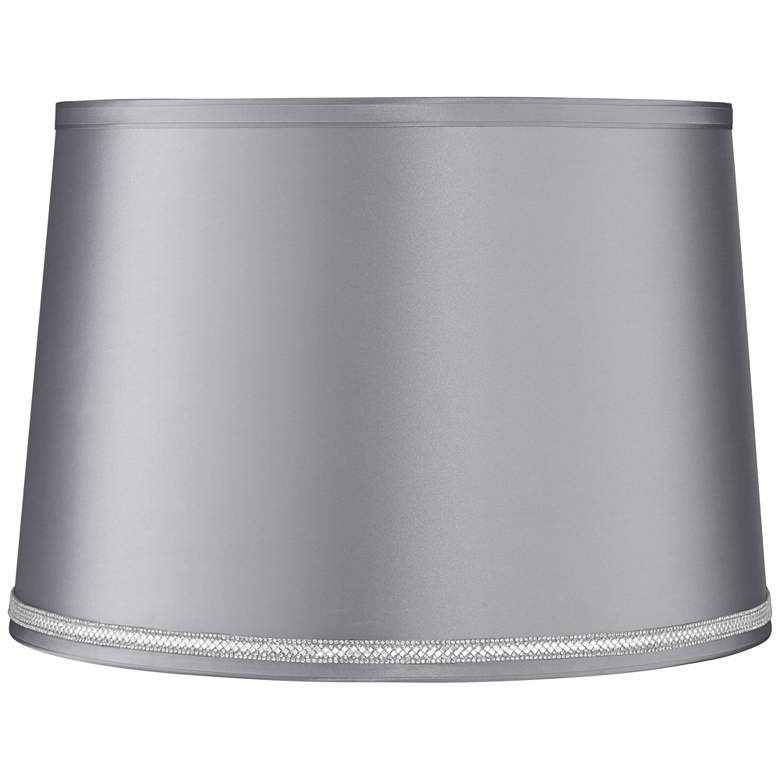 Satin Gray Drum Lamp Shade 14x16x11 (Spider) W/ Rhinestone Trim