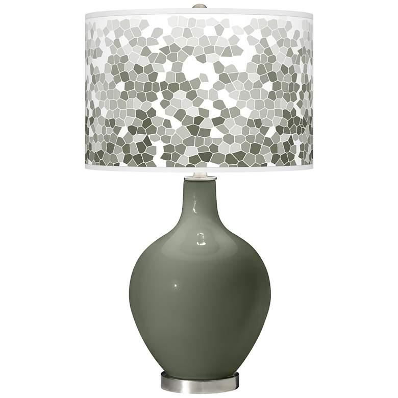 Deep Lichen Green Mosaic Giclee Ovo Table Lamp