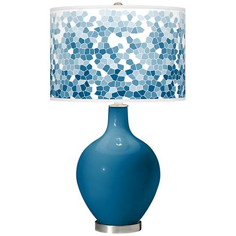 Mykonos Blue Mosaic Giclee Ovo Table Lamp