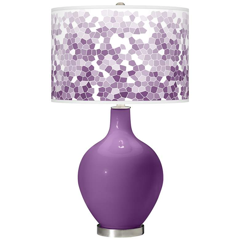 Passionate Purple Mosaic Giclee Ovo Table Lamp