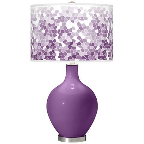 Passionate Purple Mosaic Giclee Ovo Table Lamp