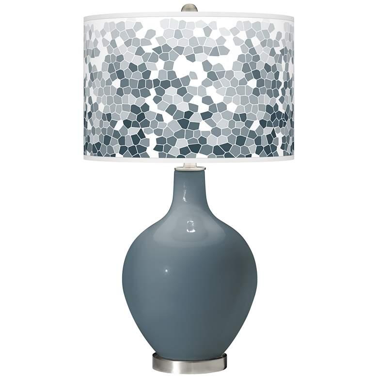 Smoky Blue Mosaic Giclee Ovo Table Lamp