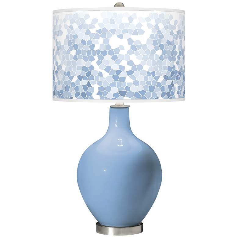 Placid Blue Mosaic Giclee Ovo Table Lamp