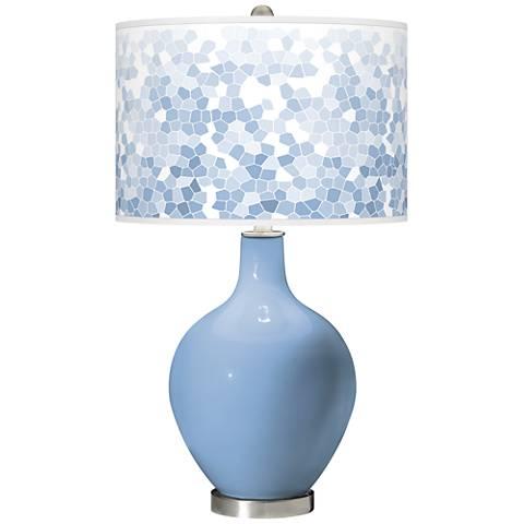 Placid Blue Mosaic Giclee Ovo Table Lamp