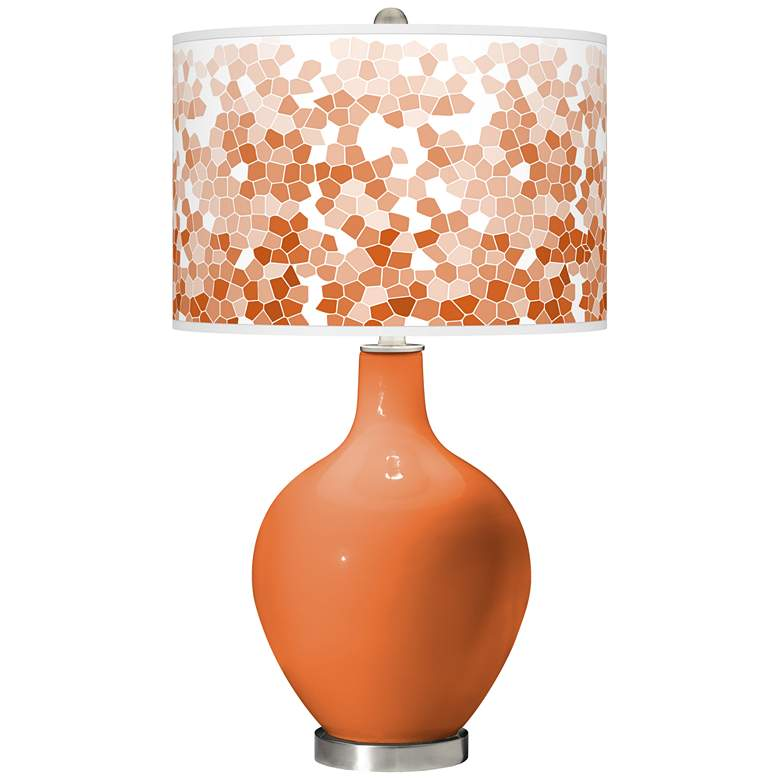 Celosia Orange Mosaic Giclee Ovo Table Lamp